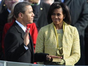 Barack Obama at his swearing in ceremony.  (Source: Getty Images)