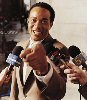 Black man in the news, press conference