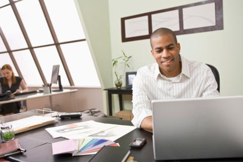 black guy on laptop