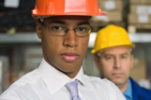 black man in hard hat construction