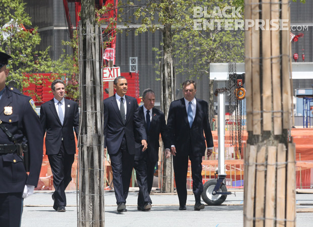 President Obama with NYC Mayor Bloomberd and Governor Cuomo at 9/11 Memorial wreath ceremony
