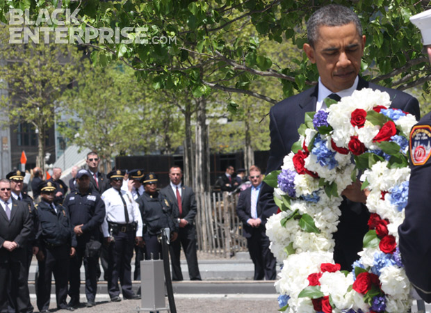 President Obama laying wreath at 9/11 memorial
