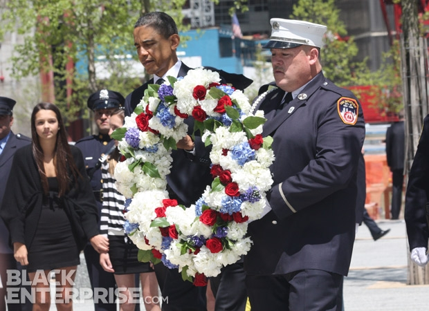 President Obama at 9/11 memorial wreath ceremony