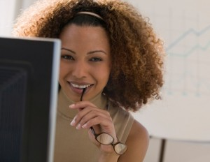 black woman at office smiling