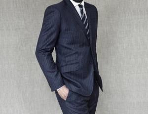 blue pinstripe suit