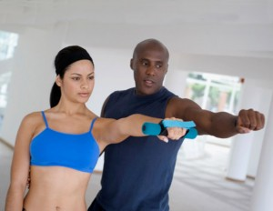 BLACK COUPLE WORKING OUT
