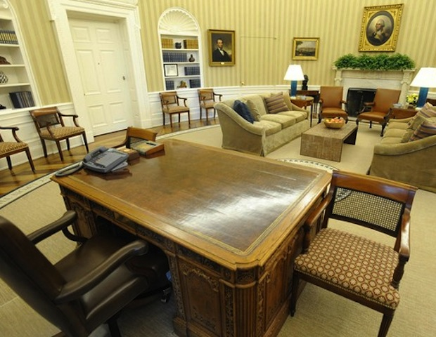 """The Oval Office includes items and objects that inspire President Obama as he tackles the pressing issues that face our nation and the world. Along with the Presidential Seal, one can find prominent quotes on the carpet, such as one from slain civil rights leader Dr. Martin Luther King: """"The arc of the moral universe is long but it bends towards justice..."""""""