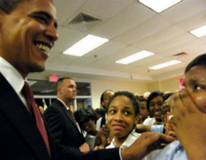obama talking to black students