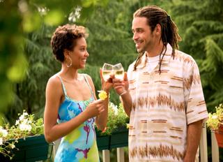 black couple toasting