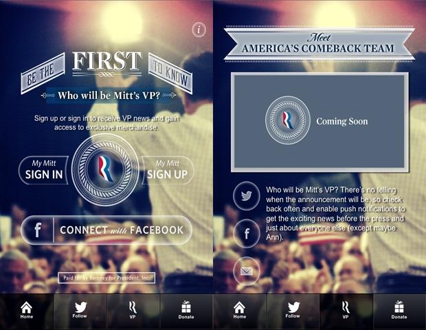 """Mitt VP"" app screen grab"