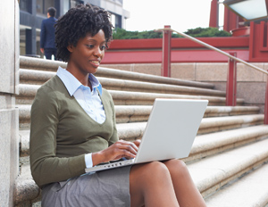 black woman on laptop