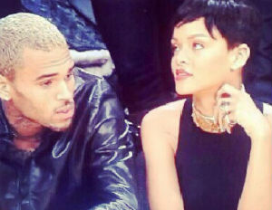 rihanna chris brown lakers game courtside couple sighting
