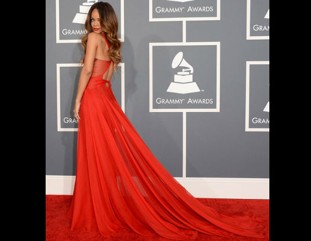 Rihanna smiles for the camera at the 55th Annual Grammy's.