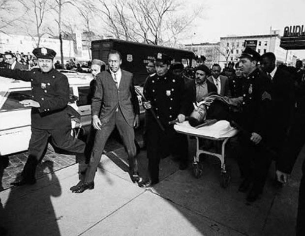Malcolm X rushed to Columbia Presbyterian Hospital after his assassination.