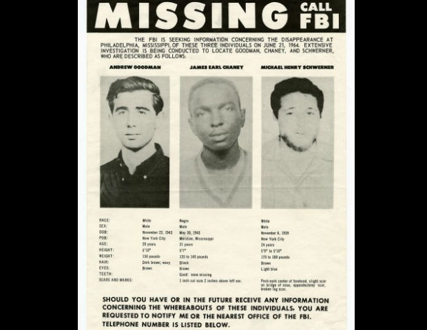 Missing poster released for civil rights' workers, James Earl Chaney, Andrew Goodman and Michael Schwerner