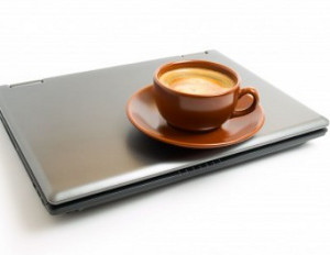 coffee on a laptop