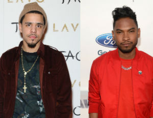 j cole and miguel on the red carpet