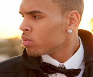 chris brown with a bow tie