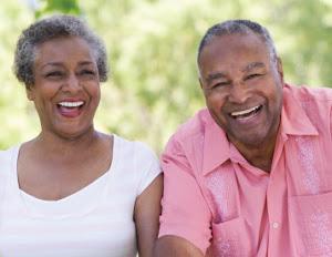 happy old black couple