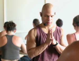 black man meditating yoga