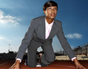black womna running with suit