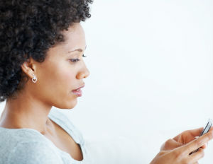 black woman texting
