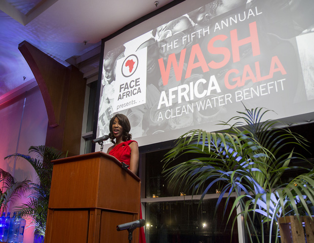 """Since 2009, Saran Kaba Jones has raised more than $250,000 for clean water projects in Liberia with via her nonprofit, FACE Africa, and partners including the Voss Foundation, JP MorganChase Community Giving, P&G's Covergirl, The Global Neighborhood Fund, Chevron, the Coca-Cola Co., and The Segal Family Foundation.  """"I'm continuing in the legacy of my father, who always stressed to me about reaching back and being of service,"""" Jones said at the event, which was held at New York's beautiful Chelsea Piers. For her work, Jones has been listed by the Guardian UK as one of Africa's 25 Top Women Achievers, alongside President Joyce Banda of Malawi and Nobel Laureate Leymah  Gbowee and was named a 2013 World Economic Forum Young Global Leader.  (Images: FACE Africa/CaliYork Photography/Solwazi Afi Olusola)"""