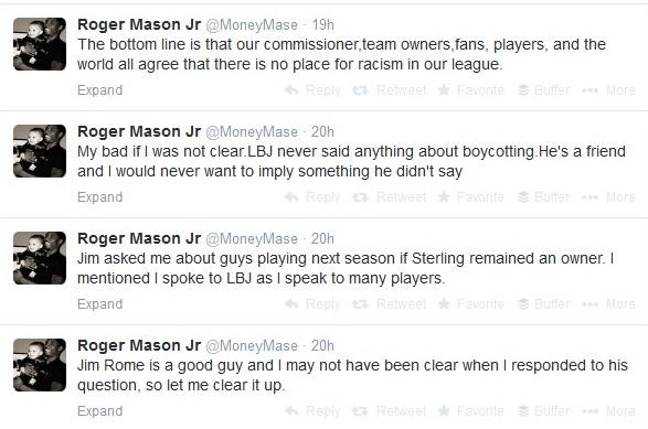 Roger Mason Jr backtracks over LeBron boycotting