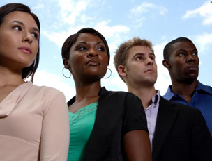People with diverse ethnicities standing in a line