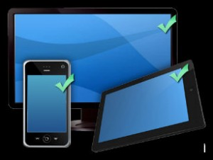 Image of a desktop, a mobile phone and a tablet