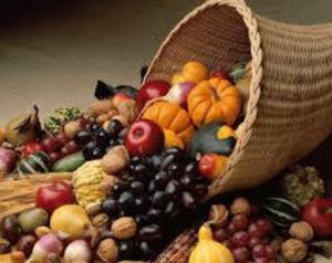Photo of an overflowing cornucopia