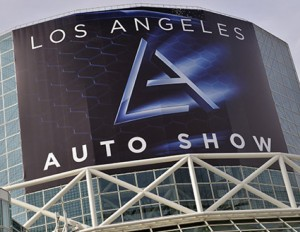 Los Angeles Auto Show sign on Los Angeles convention center