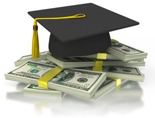 graduation cap atop a pile of money