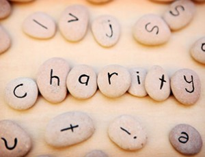 Image of stones that spell out charity