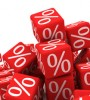 Red dice with white percent signs on them