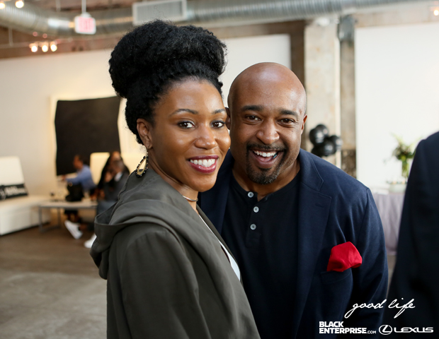 Black Enterprise social media manager Sirita Wright and entrepreneur Mike Muse snag a picture together.