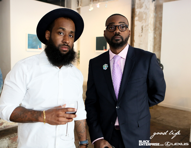 Fashion Bullies co-founders Terrence Sloan and Malik Baker snap a picture together.