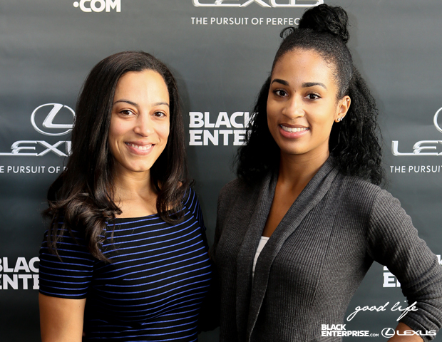 Principal and CEO of IMPACT Strategies Angela Rye and guest smile for a red carpet picture.