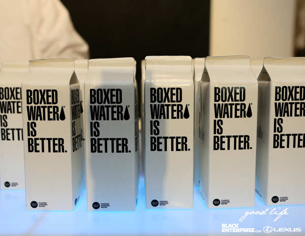 "Guests enjoyed boxed water at ""The Good Life"" event."