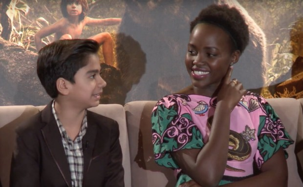 """Mother"" and ""son."" Neel Sethi (l) who played Mowgli and Lupita Nyong'o, the voice of Mowgli's wolf mother Raksha."