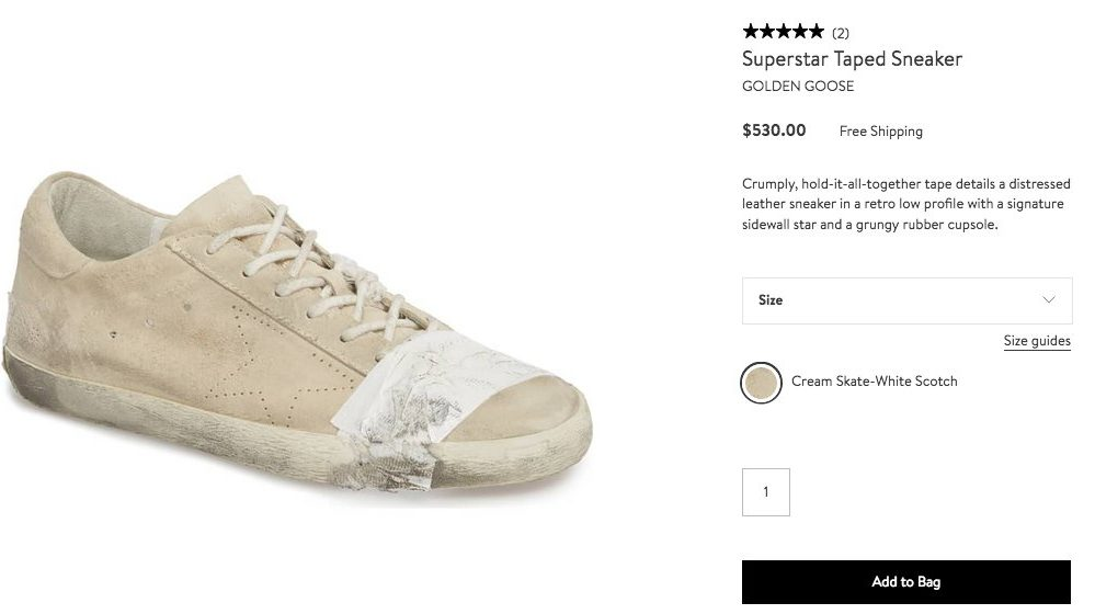 Golden Goose superstar taped homeless sneaker